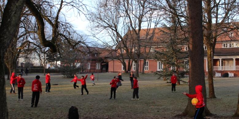 Choristers playing Football in Bad Durrheim